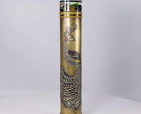 Turning End - Peacock Etched Brass Kaleidoscope Medium - 1